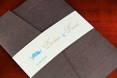 Wood Grain Pocket Fold Invitation for a Nature Wedding