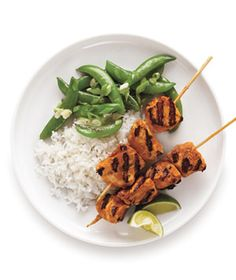 Red Curry Chicken Skewers from realsimple.com #myplate #protein #vegetables
