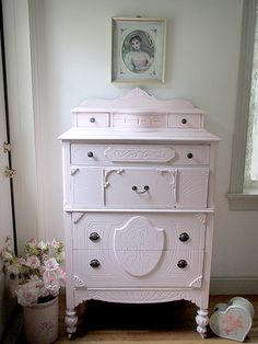 pink dresser, french cottage style, cottag style