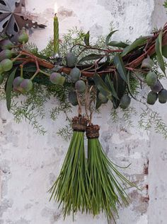 pine needle tassels on holiday wreath