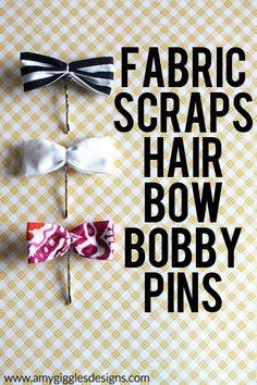 How to make hair bows with fabric scraps and bobby pins.