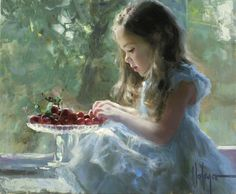 painting pictures, little girls, afternoon snacks, fruit platters, acrylics, art, vladimir volegov, paintings, cherries