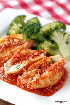 spinach cheese shells (recipe) - NoBiggie.net