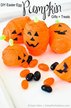Pumpkin treats made out of Easter Eggs! Easy tutorial via Kara's Party Ideas KarasPartyIdeas.com Cute party favors or classroom gifts / crafts for kids!