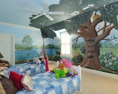 Palm tree as center, wooden shelves on tree with tropical stuff.  Section of wall like this?  Girls' Rooms
