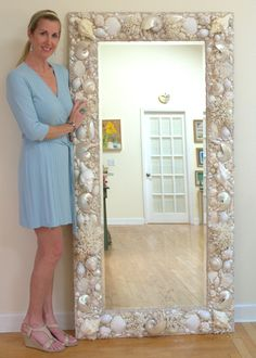 All White and Cream, Sea shell mirror. 6' x 3' WWW.ElegantShells.com