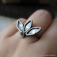 Lotus Ring in Sterling with Garnet by jorgensenstudio on Etsy, $44.00