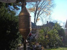 Moroccan hanging lantern electric brass ornate by pinkwilly506, $549.99