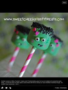 Girly Frankenstein cake pops