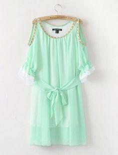 short, mint green, closets, colors, sleev, green dress, cut outs, summer clothes, chiffon dresses