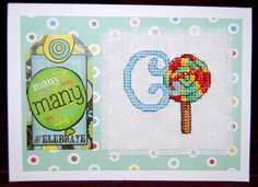 Letter G  cross stitch card - here's another card made by pinner Susan, using Durene Jones' ABC of 'sweet treats' motifs, back in our issue 198 of The World of Cross Stitching mag. Great!