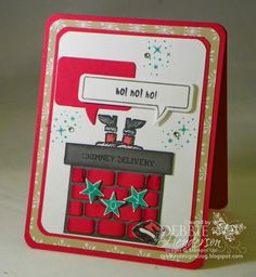 Stampin' Up! Get Your Santa On & Word Bubbles with a punch art chimney. Debbie Henderson, Debbie's Designs.