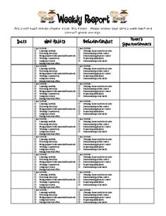weekly behavior report template .