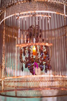 {Under the Big Top » Photography by April Pizana} Old Birdcage turned into chandelier