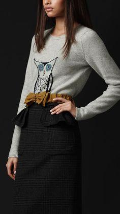 Burberry - owl detail cashmere jumper
