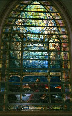 Louis Comfor Tiffany ~  The Holy City (1905) – St. John's vision on the isle of Patmos. Having 58 panels, this window is said to be one of the largest made by the Tiffany Studios. It is located at Brown Memorial Presbyterian Church (Baltimore, Maryland), which has eleven Tiffany windows.