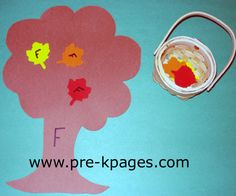 craft foam leaves with letters written on front. students place leaves on trees with matching letter.  Could also be done using upper to lower. via www.pre-kpages.com