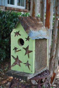 Wooded Birdhouse Barbed Wire Upcycled Recycled Shabby Folk Art
