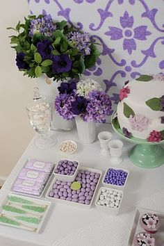 Pretty lavender and green sweet table.