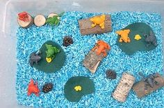 pond sensory tub. would love to do with with frog life-cycle theme