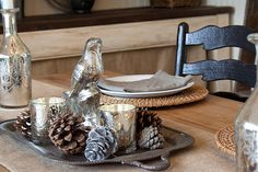 Silver and wooden tabletop Christmas decor
