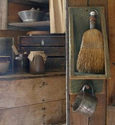 Primitive broom shelf at Sweet Liberty Homestead. Update coming this Friday...love primitives!!!