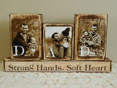 Personalized Fathers Day gift father photo with son and daughter sepia Dad strong Will not be completed by Father's Day if ordered now on Etsy, $25.00