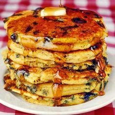 Blueberry Lemon and Cornmeal Pancakes