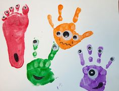 Googly Eyes and Paint Prints - How cute are these Monsters? preschool activities, monster crafts, footprint crafts, letter, craft activities, hand prints, little monsters, kid crafts, eye