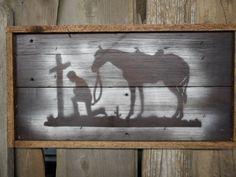Praying Cowboy, Cowboy art, Cowboy sign, Western art, Old west sign, Cowboy stencil, Cabin sign. $45.00, via Etsy. cabin, art stencil, cowboy sign