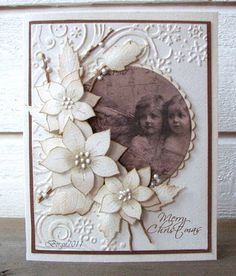 handmade card with vintage photo ... delightful posey of white flowers draped around part of the photo...
