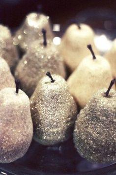DIY Winter decor: Dollar store fake fruit + glitter by angie