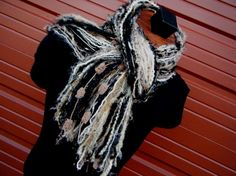Fringe O Rama Scarf Champagne Brown and Black by CricketsCreations,