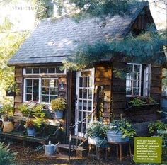 Garden shed made out of old recycled windows and doors