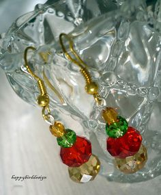 Faceted Glass Christmas Earrings My Xmas by happybirddesign, $15.00