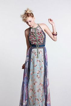 floral patchwork maxi dress - Anthropologie