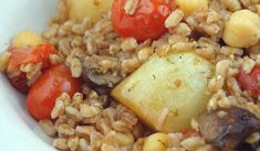 Lemon and Garlic Roasted Vegetables with Farro