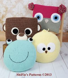 Baby Crochet Pattern Animal Cushions, Owl, Bear, Chick, Frog Crochet Pattern DIGITAL DOWNLOAD 255