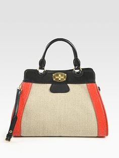 Miu Miu Linen and Ostrich Top Handle Bag