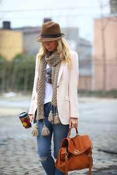 jean, fashion, style, blazer, bag, fall outfits, tassel, fedora, hat