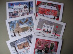 Set of 6 Christmas Cards  Writers' Houses  Naive by AmandaAWhite, $21.00