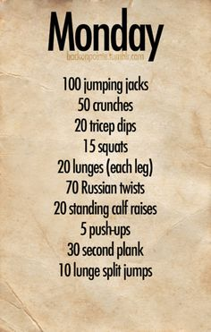 Workout Regime for Monday