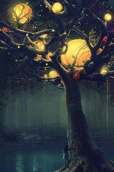Magicos harvest moon, magic, animal funnies, dream, trees, fairi, the artist, light, night circus