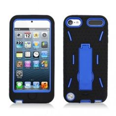 Black / Blue Hybrid Rugged Hard Silicone Case Cover w/ Stand for Apple iPod Touch 5 ($2.55) Hard Plastic on the inside and Soft Silicone on the outside. Built in viewing stand for hands-free comfort viewing Edges are reinforced for more protection. Surface covered by layer of silicone to provide better grip and protection. 2 Tone coloring