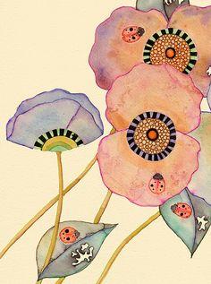 Ladybird Poppies (Detail)  Colleen Parker