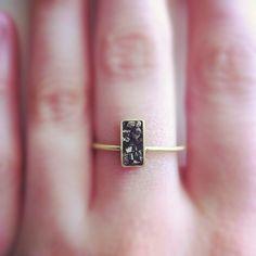 ring, moon, instagram, fox, art, black gold, accessories, rocks, raw beauty
