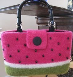 felted crochet watermelon purse by Pomquat