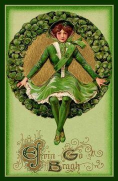 vintage images, holiday, vintage postcards, st patricks day, wreath, irish, vintag st, stpatrick, vintage style