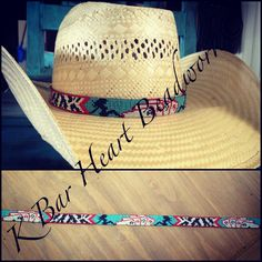 Beaded hat band  K bar heart beadwork. Find me on Facebook!