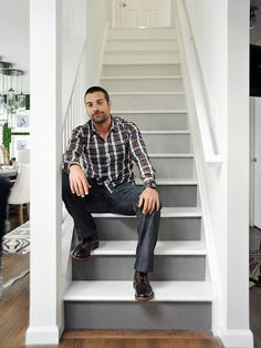 Go ombre: Ombre isn't just for hair and clothes – it's popping up on staircases too. Start with a base color and add a touch of white paint each time you move up a riser for this cool fading effect. Sexy Anthony Carrino not included. -